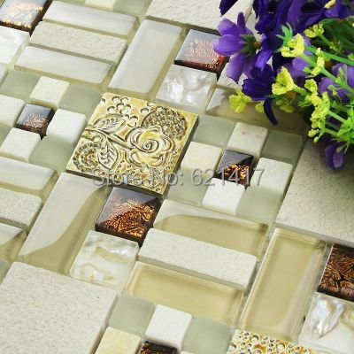 glass mosaic mixed stone with shell gold resin pattern mosaic tiles for bathroom home improvement kitchen backsplash