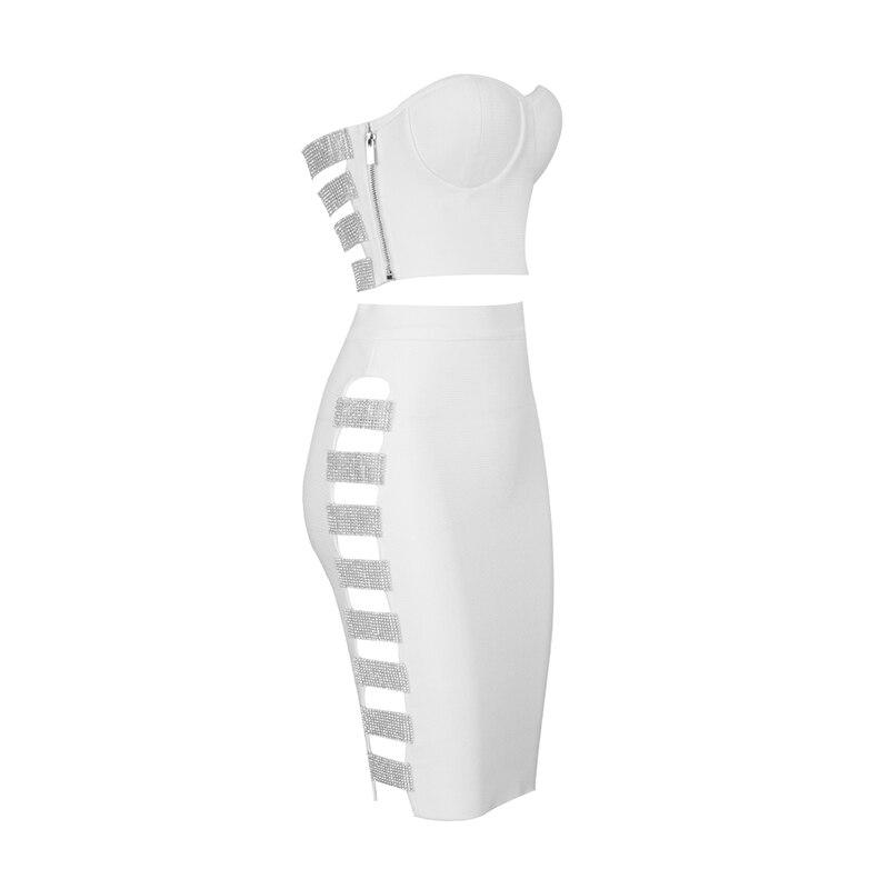 Mode Noir Haut Femmes Costumes Pièce Sexy Tenues Et Ensemble D'été Robe Rayonne Bandage Straplesss Midi Set Évider 2 Blanc EWH2D9I