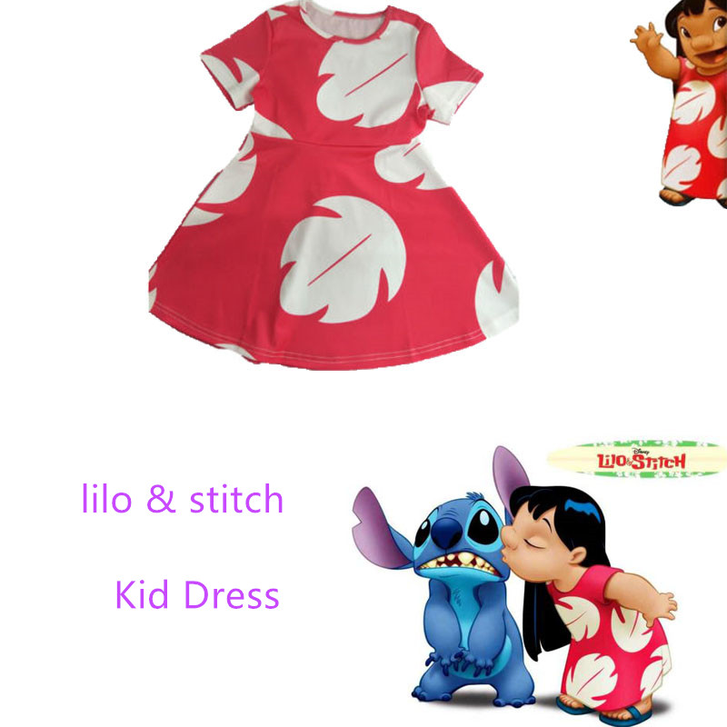 WXCTEAM Lilo & Stitch Kid Dress Halloween Kid Cosplay Summer Kawaii Leaf Dress Onepiece Kid Girl Casual Daily Party Dress