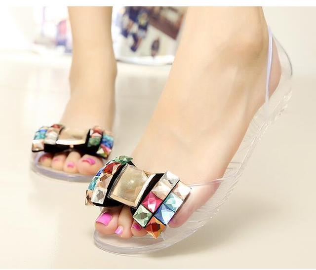 b1bd4f1e763c Eilyken Women Sandals Summer Style Bling Bowtie Jelly Shoes Woman Casual Peep  Toe Sandal Crystal Flat Shoes Size 35-40