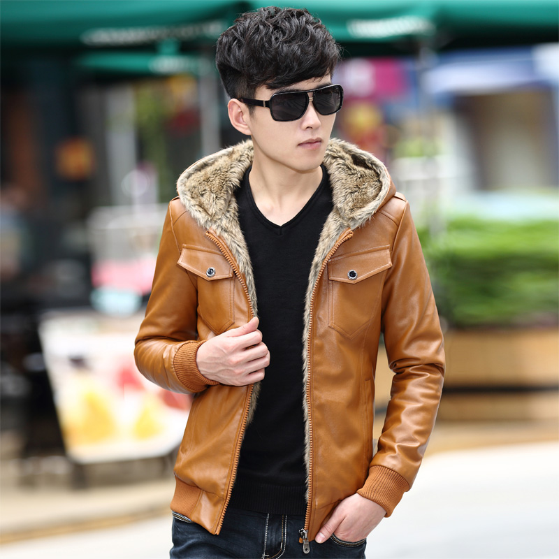 M~3XL! 2016 Motorcycle leather clothing male teenage slim velvet thickening outerwear leather jacket outerwear singer costumes 69
