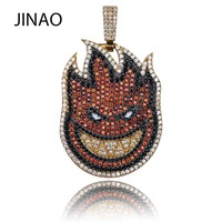 JINAO New Flame Boy Spitfire Pendant Necklace Iced Out Chain Gold Color With Tennis Chain With Cubic Zircon Hip hop Rock Jewelry