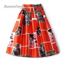 BunniesFairy 2017 Autumn New Lady Vintage Retro High Waist Orange White Plaid Print Pleated Flare Midi Skirt Saia Longa Plissada