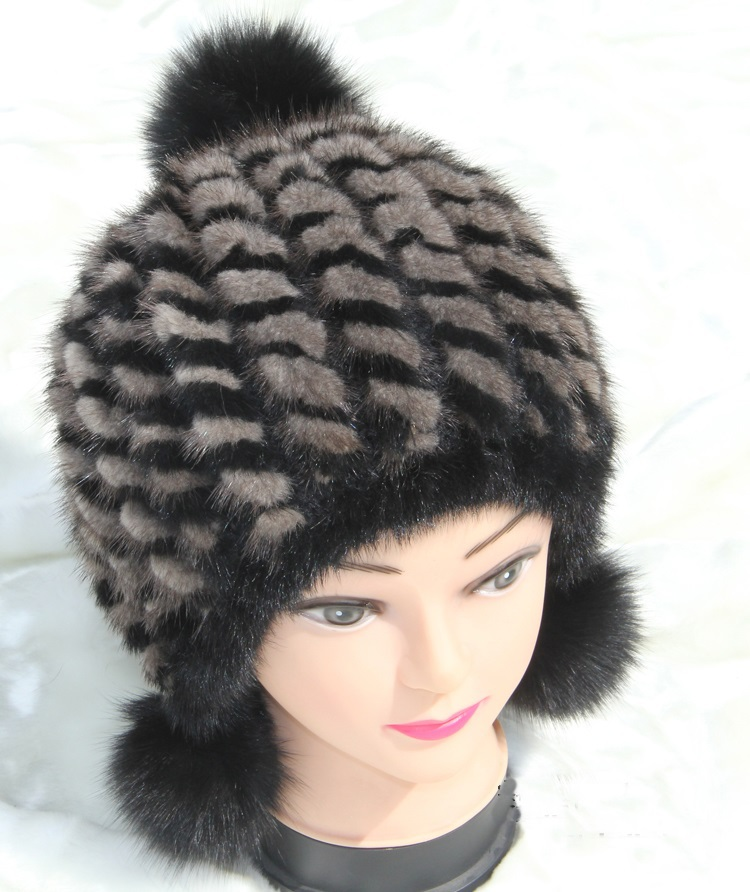 ФОТО H363 Women luxury ear protector cap with fox fur pompom, ear protector winter autumn handmade knitted genuine mink fur hats