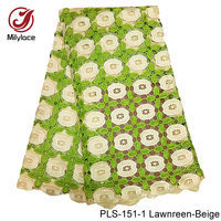 Lemon Green Water Soluble Cord Lace Fabric White And Gold Guipure Lace Fabric 5 Yards Per