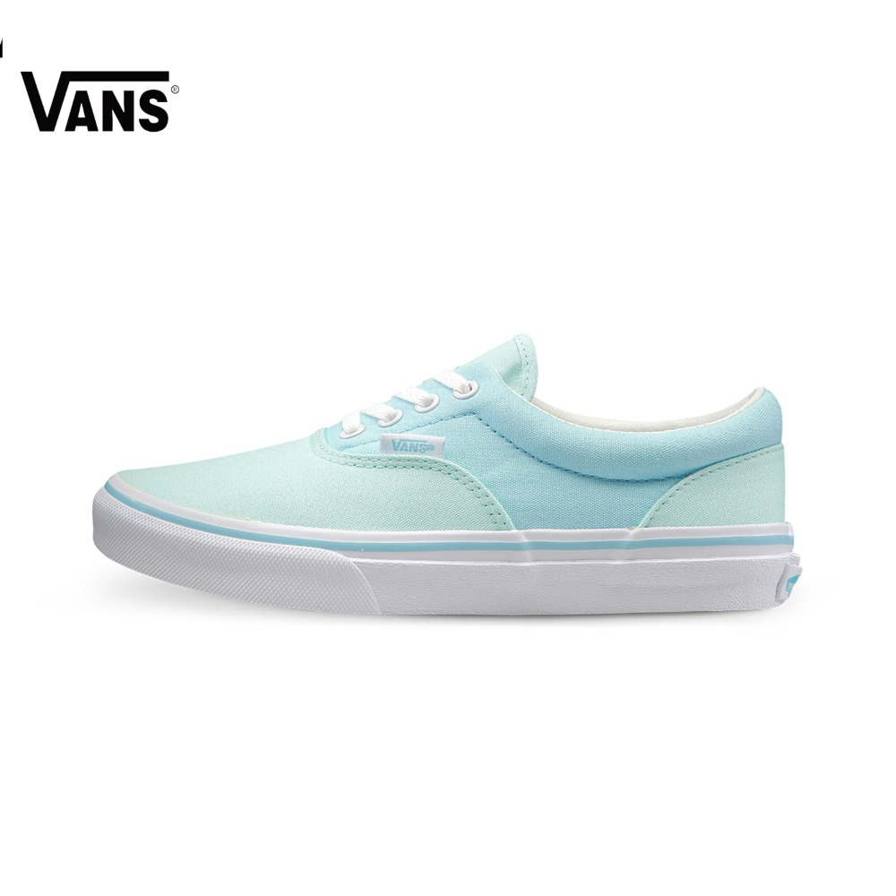 Original Vans New Arrival Blue and Green Women's Skateboarding Shoes Era Canvas Shoes Sports Shoes Sneakers sketches in lavender blue and green