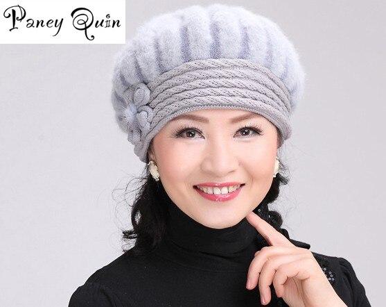 Las mujeres hermosas de piel de invierno sombrero de flores de dama gorros y sombreros gorros caliente de invierno de las mujeres sombreros de piel de conejo de punto gorros