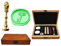 Vintage Key Custom Luxury Wax Seal Sealing Stamp Brass Peacock Metal Handle Sticks Melting Spoon Wood
