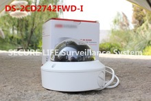 Free shipping DS-2CD2742FWD-I  English version 4MP WDR Vari-focal Dome Network ip Camera POE, vandal proof