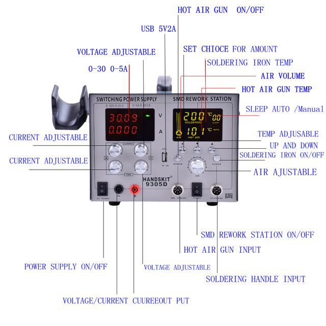 SMD Hot Air  Gun Auto Sleep  BGA Rework Solder Station  110V/220V usb  5V 2A  DC Power Supply 30V-5A  2
