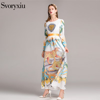 SVORYXIU Designer Animal Printing Long Dress Women High Quality Long Sleeves Heart Shaped Sequined Party Dresses