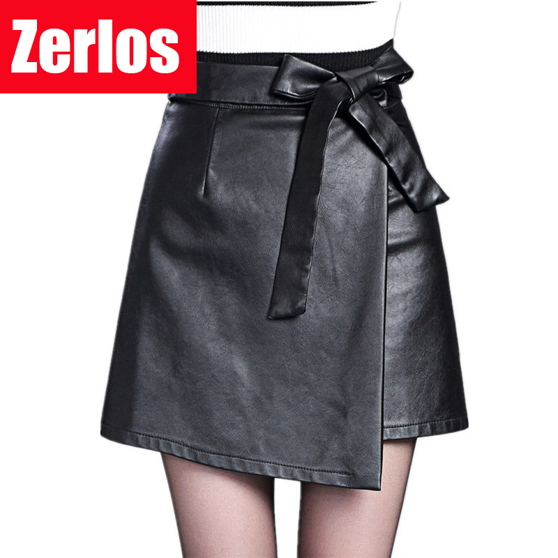 2016 autumn and winter new womens Korean style bow skirt high waist skirt PU leather A word mini umbrella skirts lady