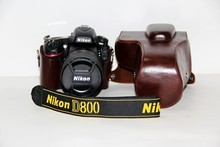 Factory New PU Leather Camera Case Cover w/ Storage Case For DSLR Nikon D810 D800 (24-70mm) Lens Bag Coffee Free Shipping