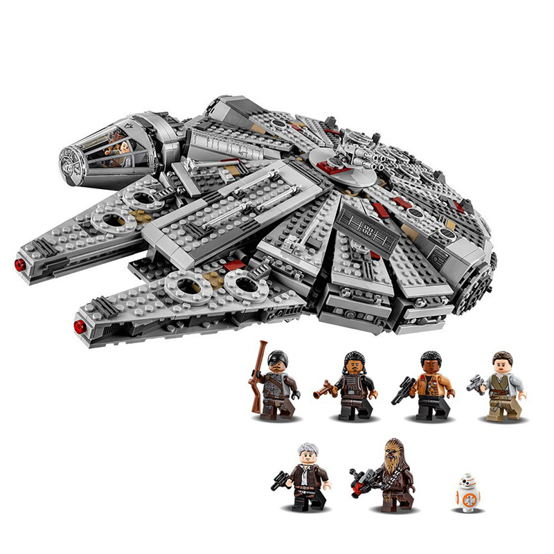 05007 Building Blocks Star Wars The Force Awakens Millennium Falcon Model Kits Rey BB-8 MiniFigures box Compatible with LEGO