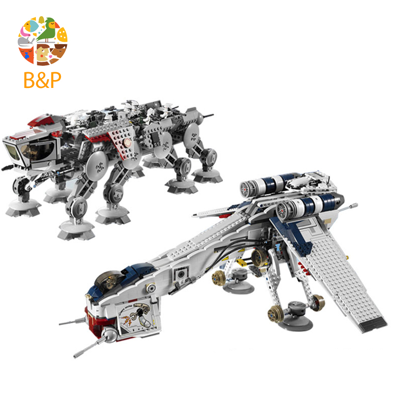 lepin DHL 1788pcs 10195 Star Model Wars Republic Dropship with AT-OT Walker Building blocks Bricks Compatible 05053 Toy Gift lepin 05053 1788pcs star series wars republic dropship with at ot walker building blocks bricks set compatible 10195 toys