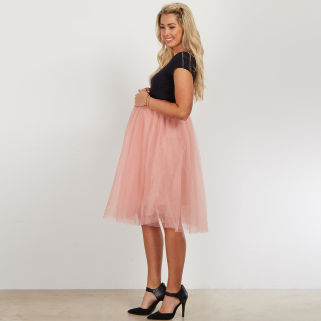 8956057453c85 Casual Peach Pink Pregnant Tulle Skirts Women Midi Tulle Skirts Maternity  High Waistline Pregancy Female Skirts 2 Layer Tulle
