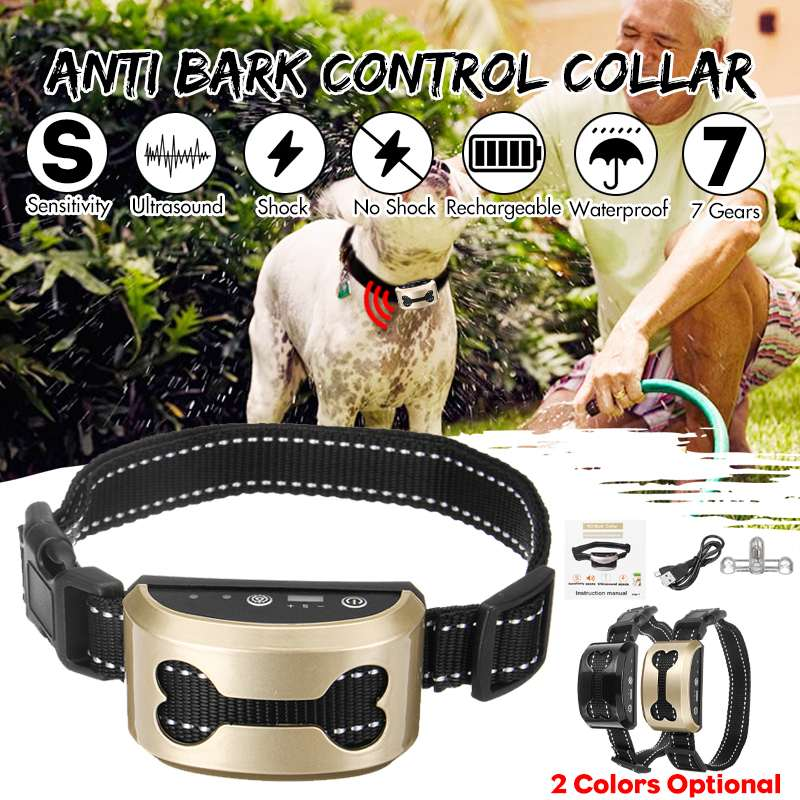Collar-Control Train Training-Collars Stop Barking Dog Ultrasonic Anti-Bark Pet-Rechargeable