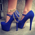 Sexy Blue Red Suede Platform Metal Ankle Strap & Gold Chain Decoration High Heels Women Pumps Ladies Cocktail Party Prom Shoes