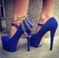 Sexy azul vermelho camurça plataforma de Metal com tira no tornozelo e corrente de ouro decoração salto alto mulheres bombas Ladies Cocktail Party Prom sapatos