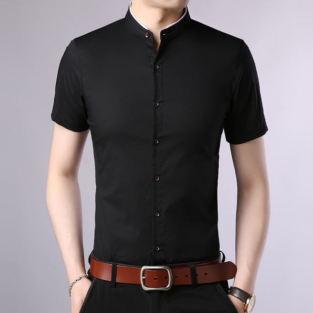 2019 Fashion Brand Designer Shirt Mens Summer Solid Color Short Sleeve Slim Fit Streetwear Mandarin Collar Casual Mens Clothing
