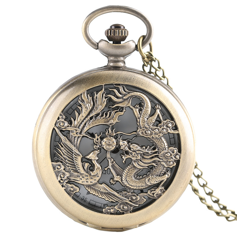 Hollow Dragon Phoenix Pocket Watch Women Men Stainless Pendant Chain Bronze Half Hunter Quartz Watches Necklace Gift