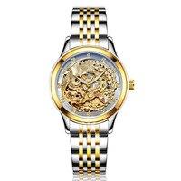 LAOGESHI Luxury Dragon & phoenix women watch men hollow engraving automatic mechanical watches Gold Clock Orologio Donna gift