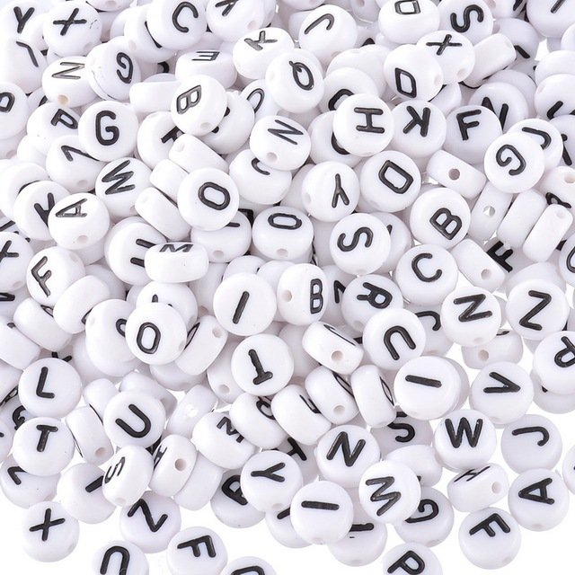 MJARTORIA 400PCs White Random Mixed Letter/ Alphabet Acrylic Beads For Jewelry Making Accessories For Bracelets Necklace 6mm
