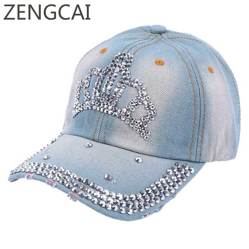 2017 Women Baseball Cap With Crown Rhinestone Jeans Hats Snapback Denim Hat Hip Hop Girls Summer Spring Female Adjustable Caps fashion baseball cap crystal rhinestone floral woman snapback hats denim jeans hip hop women cowboy baseball cap