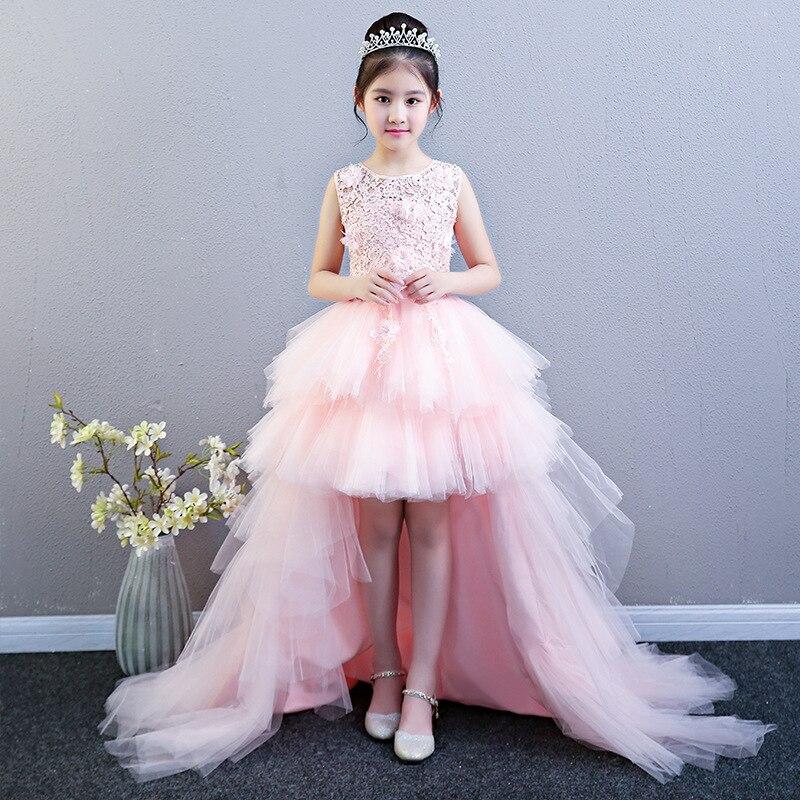 Performance spectacle bal fleur fille robes de mariée enfants traînant en couches fête princesse anniversaire robe première Communion robe