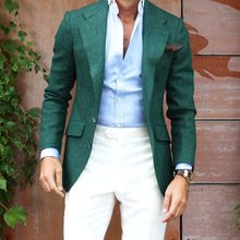 latest coat pant designs Green Blazer White Pants 2 Pieces Casual Man Tuxedos Mens Wedding Prom Party Suits Custom Made 2016