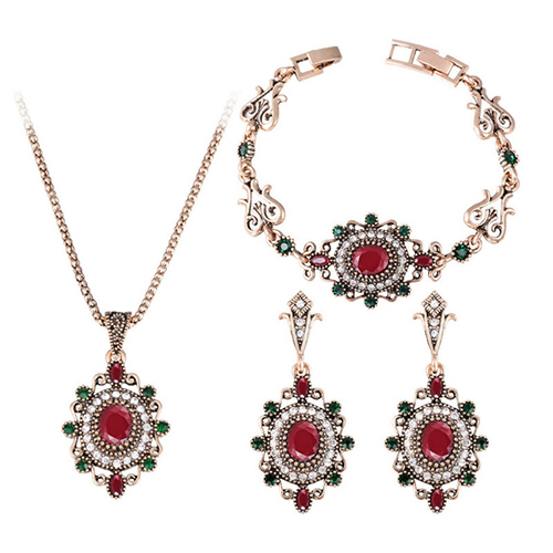 3 Pcs Retro Jewelry Red...