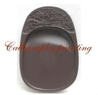 6 polegadas Chinês Zhaoqing Duan Yan Pedra Esculpida Dragão Inkstone Caligrafia de Tinta Pintura Ferramenta 15643