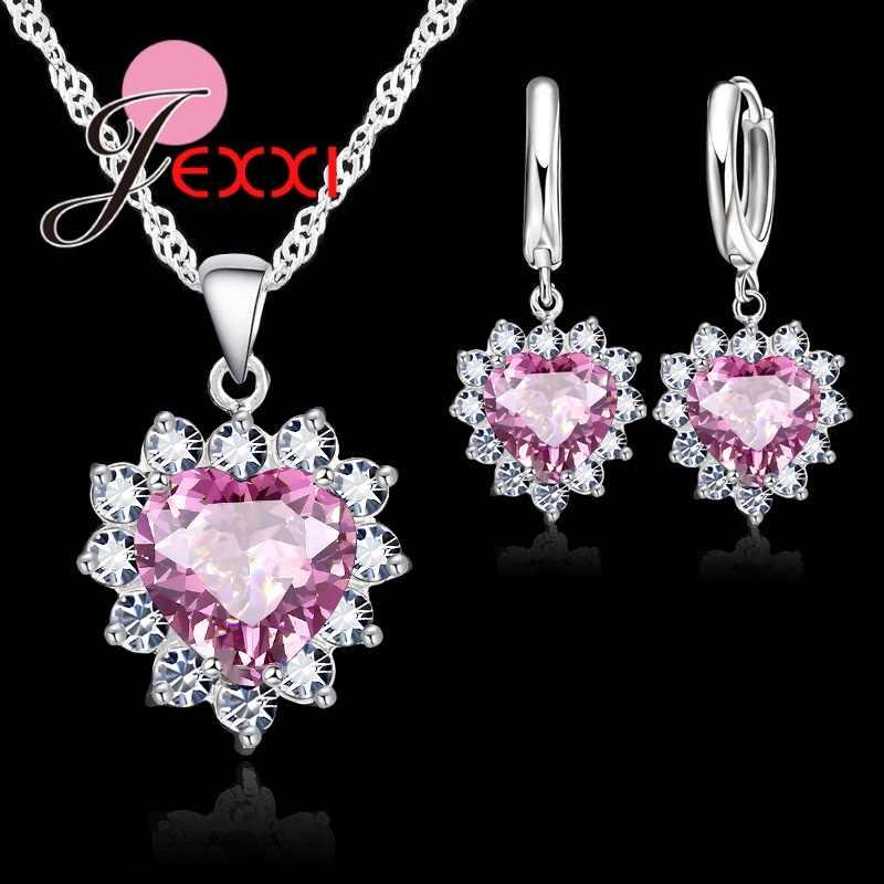 Trendy Herz Österreichischen Kristall 925 Sterling Silber Anhänger Halsketten Ohrringe Set Für Frauen Hochzeit Braut Schmuck Sets