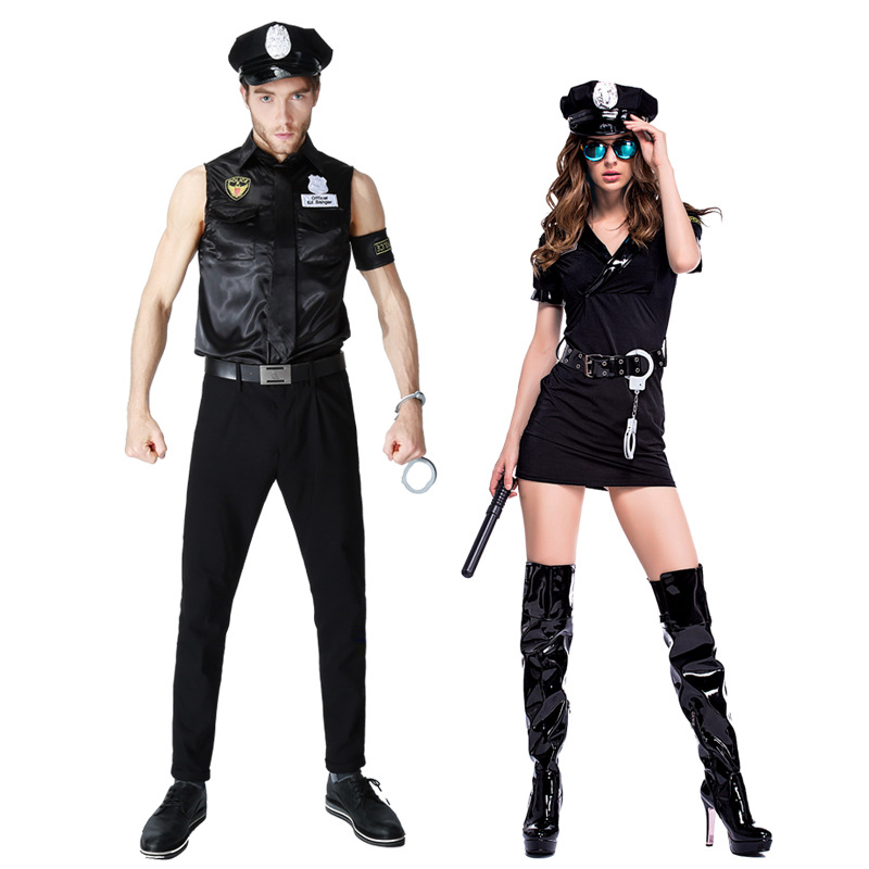 Halloween New Sexy Black Couples Masquerade Police Costume