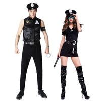 Halloween New Sexy Black Couples Masquerade Police Costume