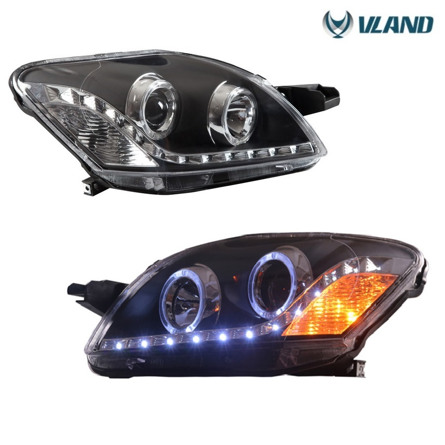Free shipping Vland auto car styling for Vios led headlight for Yaris angle eyes headlamp projector lens 2008-2013  free shipping vland factory auto car styling for ford escorts fries headlight led 2015 2016 headlamp with hid xenon