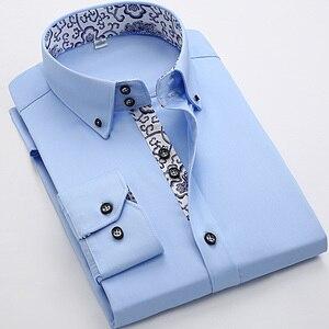 Image 3 - 2020 İlkbahar/sonbahar erkek Slim Fit uzun kollu elbise gömlek avrupa iş rahat sınır gömlek yüksek kalite düğün damatlar gömlek