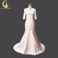 Rhine Real Sample Image Pictures Boat Neck Top Lace Half Sleeves Satin Mermaid Wedding Gown wedding dresses