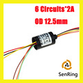 Slip ring rotating OD 12.5mm  6 circuits /2A signal of capsule slip ring with length 18.2mm