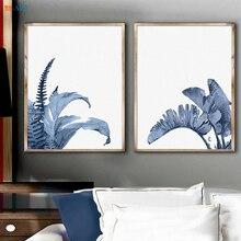 ФОТО 2018 fashion tropical print art tropical leaf decor botanical print sets indigo watercolor scandinavian leaf art blue home decor
