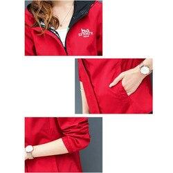 Streetwear bluza z kapturem drukowane kurtka kobiet i przyczynowy wiatrówka podstawowe kurtki 2019 nowy dwustronna z daszkiem zamki kurtka 4XL 2