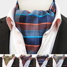 Luxury Men Paisley Plaid Solid Color Dot Wedding Ascot Ties Classic British Gentleman Silk Neck Tie Formal Cravat