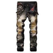 GMANCL Мужчин Джинсы мода орел крыло вышитый джинсовой брюки мужской рэп повседневная отверстия ripped punk джинсы Slim fit straight плюс