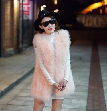 Новое поступление Винтажный стиль настоящий вязаный жилет из меха страуса жилет из натурального меха - Цвет: light pink