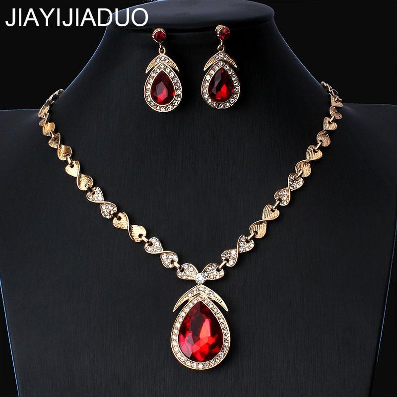 Brautschmuck Sets MüHsam Jiayijiaduo Hochzeit Schmuck Set Tiefe Mode Frauen Rot Kristall Halskette Ohrringe Tropfen-förmigen Kleid Zubehör Dropshipping