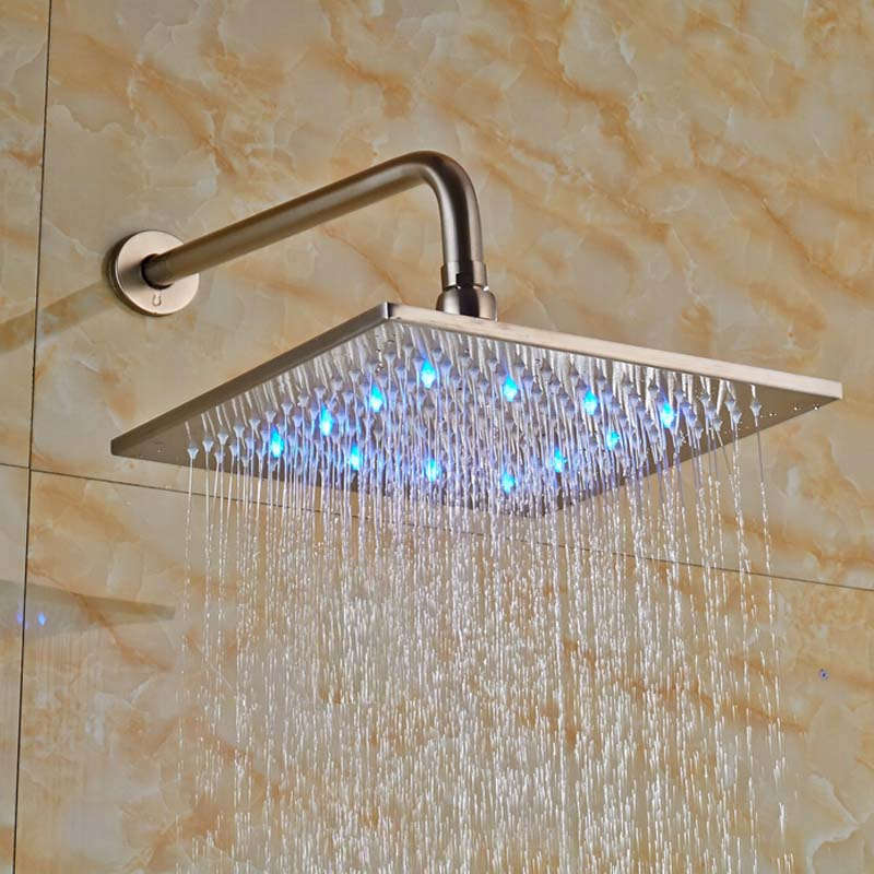 Wholesale And Retail Luxury LED Brushed Nickel Rainfall Square Shower Head Wall Mounted Top Shower W/ Shower Arm hot sale wholesale and retail promotion new modern brushed nickel 12 rain shower head ultrathin shower head replacement