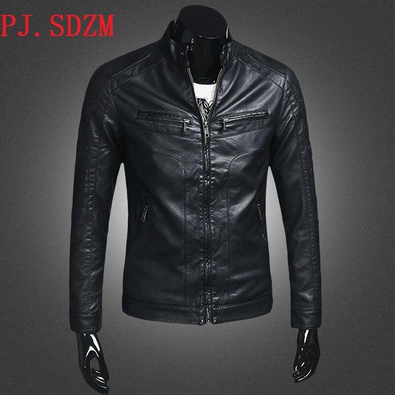New Arrival Men Motorcycle Jacket Autumn Winter Windproof Warm Hot Sale PU Leather Jacket Male Business Casual Outwear