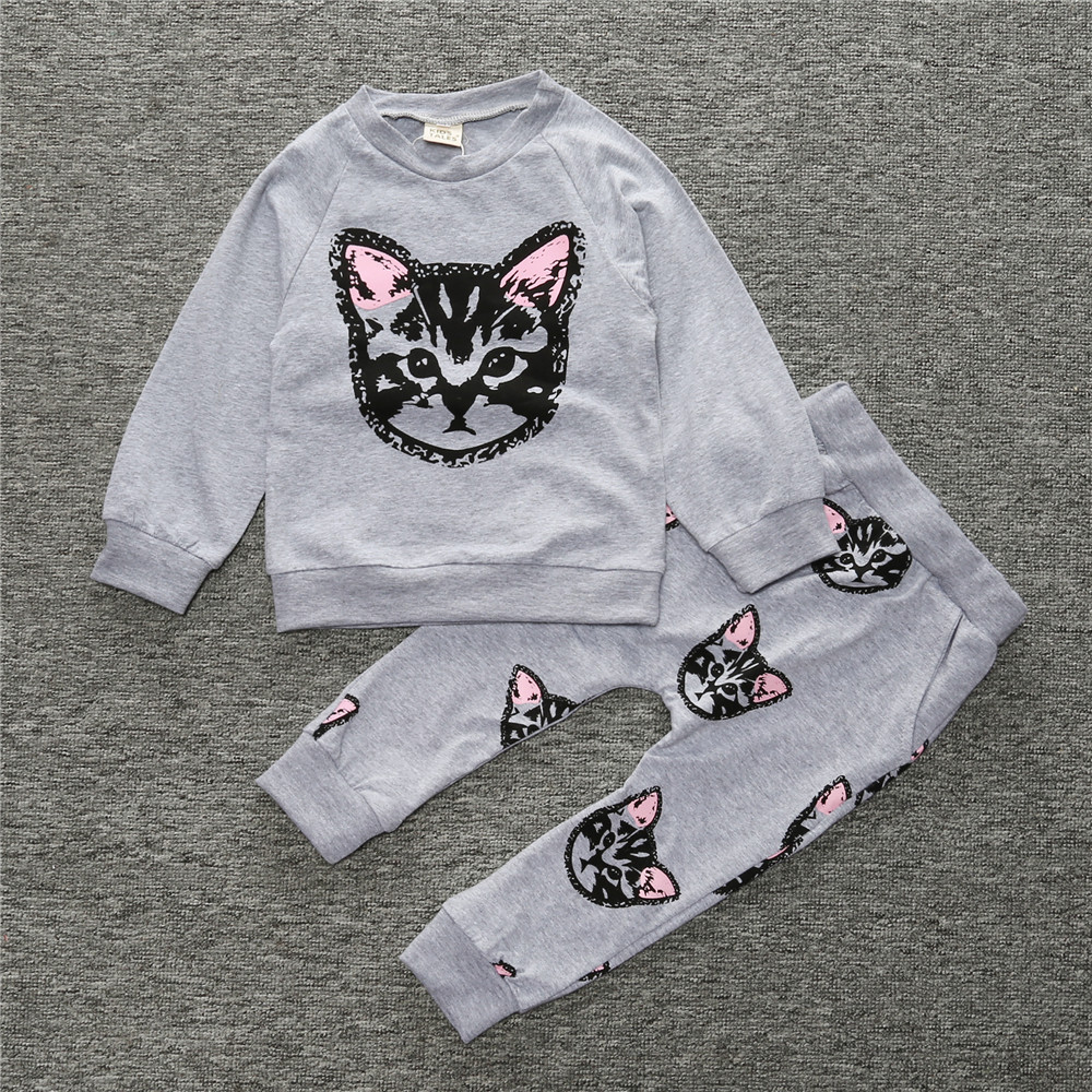 2017 new baby set cool outside wear coat+pants children clothing set baby clothing girls cartoon little cat printed suit