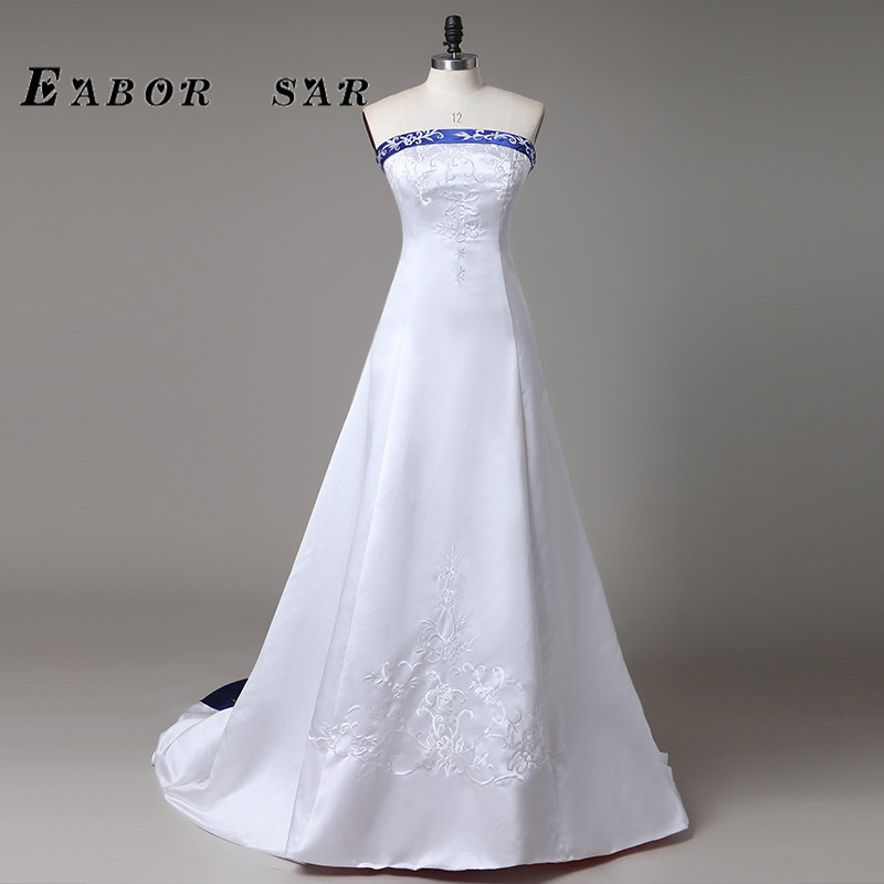 2017 embroidery strapless white and royal blue satin sheath a line wedding dress bridal gowns