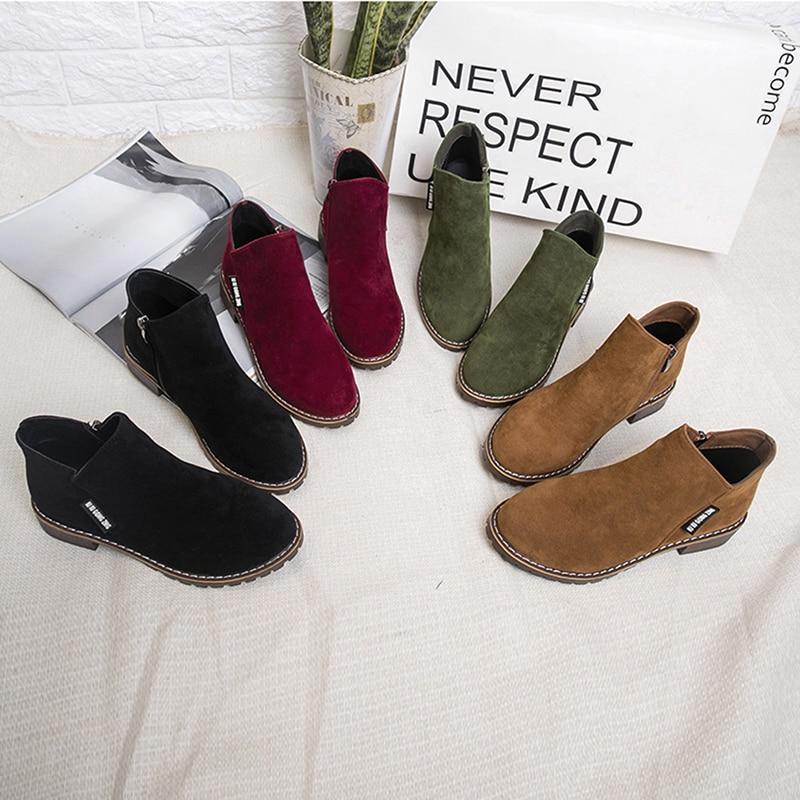 Felpa Piel Invierno La De Otoño Caliente Botas Zapatos Mujer verde Militar Mujeres Negro Tobillo 2019 Las Martin Moda brown rojo Femenina qvB1W4
